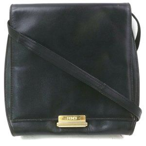 Auth Fendi Crossbody Bag Leather Black #N73307E91